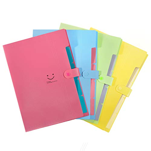 Initial Heart Expanding File Folders 5 Pockets Accordian Folder Organizer A4 Letter Size Plastic Snap Closure Paper Organizer Set of 4 Multicolored -