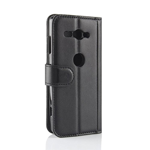 XZ2 Genuine Black Flip Sony Phone Case Compact Protective Cover Black Xperia Xperia Compact Case Card Genuine with Handmade XZ2 ID Leather for HualuBro Slots Wallet Sony Credit SqEWXX