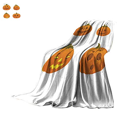 WinfreyDecor Plush Throw Blanket Set of Cartoon Halloween Pumpkin Jack-o-Lanterns Throw Blanket -