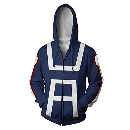 FANERR My Hero Deku Hoodie Sweatshirt Cosplay Costume (M, Navy Blue)