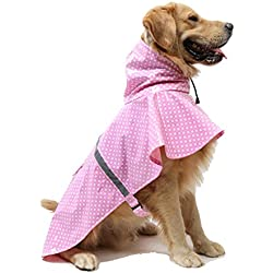 Yeexue Dog Raincoat Adjustable Rain Poncho Safe Reflective Strip Pet Puppy Rainwear Bright Patent Leather (Pink, L)