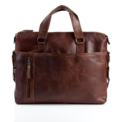 BACCINI large laptop bag - unisex Messenger bag LEANDRO fits 15.4 inch laptop iPad | shoulder bag dispatch work bag women and men brown-cognac leather | (Cognac Leather Briefcase)