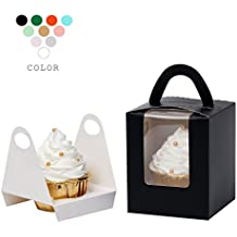 YoTruth Bakery Elegant Black Single Serve Cupcake Box 50 Count With Window Holder Handle for Birthday Graduation Party and Gift Giving Togo Container