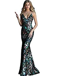 Black Multi Sequin Embellished Backless Prom Dress