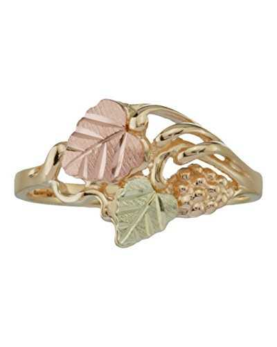 Heart Leaf Grape Cluster Ring, 10k Yellow Gold, 12k Green and Rose Gold Black Hills Gold Motif, Size 6.75