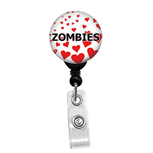 I Love Zombies - Retractable Badge Reel ID Card Name Tag Custom Badge Holder With Hearts Background (Black Badge Reel With Belt Clip) -