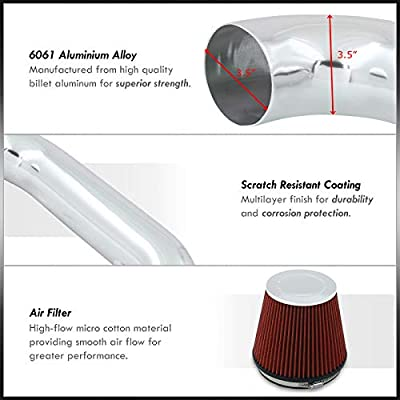AJP Distributors For Dodge Ram 1500 2500 3500 5.7L V8 High Flow Induction Air Intake System + Heat Shield Chrome Piping Kit: Automotive