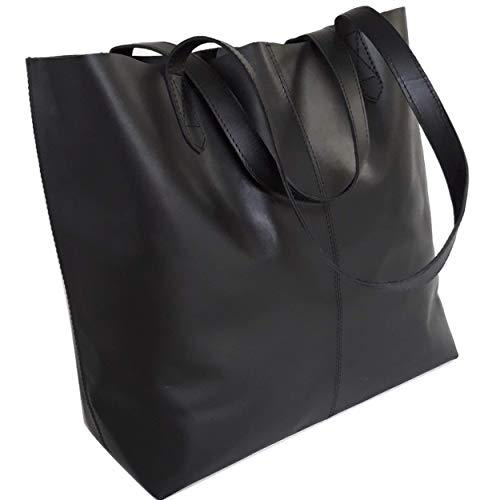 Leather Like Designer Tote Bag - Genuine Leather Tote Bag, Large Everyday Shoulder Bag for Work, Shopping, Gym or Travel (Black with Stitching)