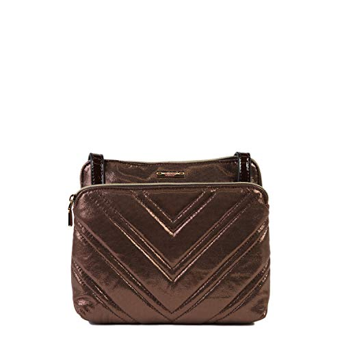 Nikky Women's Metallic Brown Quilted Crossbody Bag with Adjustable Shoulder Strap Travel Cross-Body, Bronze, One Size