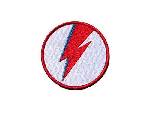 Embroidered Patch Ziggy Stardust David Bowie Lightning Bolt Glam Rock Motorcycle Patch