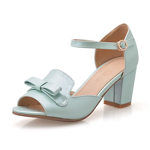 AmoonyFashion Womens Peep-Toe Kitten-Heels Soft Material Solid Buckle Sandals Blue 8n8K1nHZc