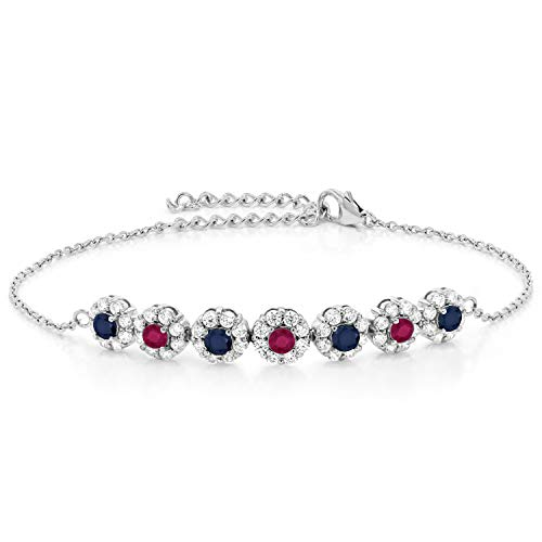 (Gem Stone King 925 Sterling Silver 1.66 Ct Round Blue Sapphire Red Ruby 7 Inch Tennis Bracelet)