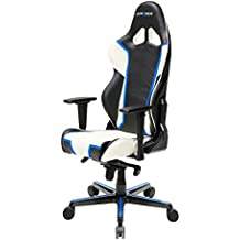 DXRacer RH110/NWB Black White Blue Racing Bucket Seat Office Chair Gaming Ergonomic with Lumbar Support (Blue)