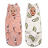 Newborn Flannel Swaddle Wrap Blanket Quilt Sleeping Bag Boy Girl, Baby Thick Swaddling Sleepsack Swaddle Pouch Receiving Blanket Warm, Set of 2,B1, M