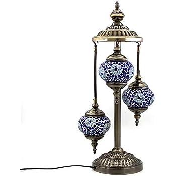 Kindgoo Turkish Mosaic Floor Lamp 3 Globe Handcrafted