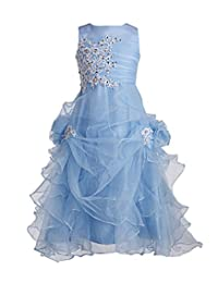 Fashion Plaza Girl's Ruffled Applique Flower Girl Communion Pageant Dress K0073
