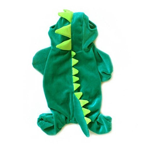 Cowmole Co. Pet Transfiguration Dogs Clothing Four-Legged Dinosaur Dog Jackets Halloween Costume Pet Dogs Green Coat Outfits]()