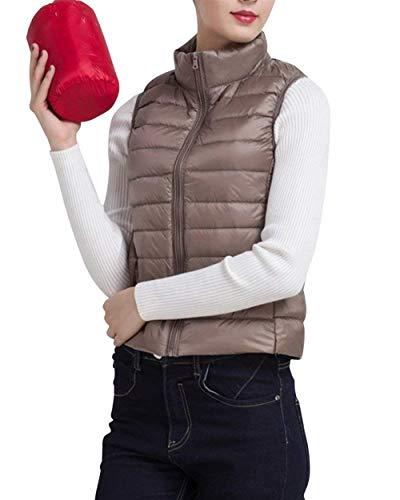 Chaleco Termica Acolchada Invierno Camisolas Elegantes Casuales Mujer Color Outerwear Cómodo Casual Khaki Battercake Sin Otoño Mujeres Acolchado Chaqueta Pastel Tallas Grandes Sólido Mangas Pluma Fácil 6qwnRdFxp