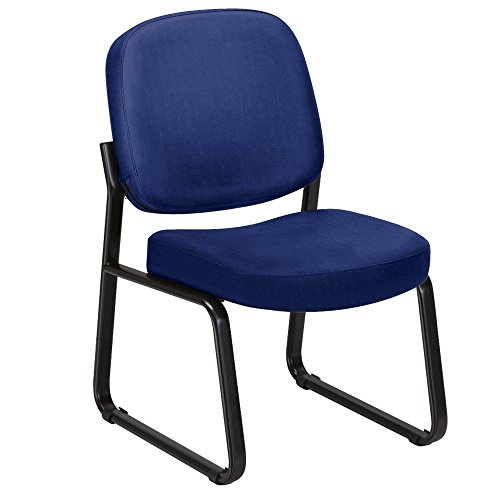 (Armless Sled Base Guest Chair Navy Fabric/Black Frame Dimensions: 21.75
