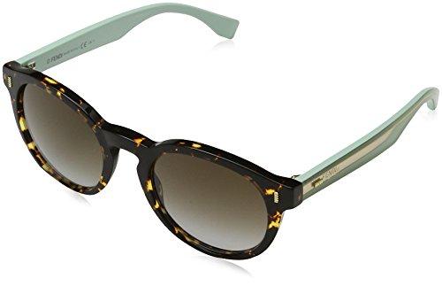 Fendi Women's Tortoise Bright Side Sunglasses, Havana Split Green/Brown Azure, One - With Shades Side Sunglasses
