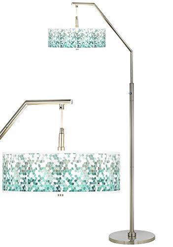 Modern Arc Floor Lamp Brushed Nickel Aqua Mosaic Pattern Giclee Drum Shade for Living Room Reading Bedroom Office
