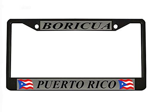 Puerto Rico Metal (Car Tag Frame Car Boricua Puerto Rico Black Metal Auto License Plate Frame Elvira Jasper)