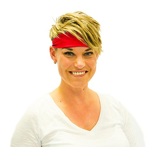 Everfan Red Headband | Athletic Stretch Sweatband for Running Yoga and Crossfit