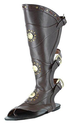 Ellie Shoes Men's Knee High Flat Sandal S BRWN ()