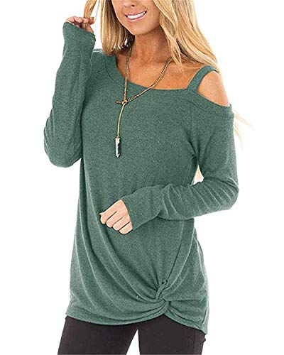 AELSON Womens Cold Shoulder Long Sleeve Shirts Front Twist Knot Casual Tunic Tops