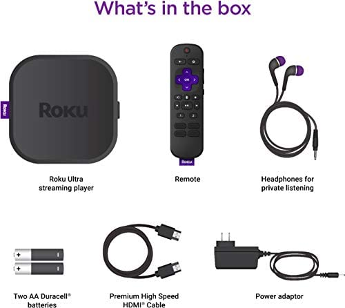 Newest Roku Ultra 4K/Dolby Vision Streaming Media Player with Voice Remote, TV Controls, and Premium HDMI Cable - USB 3.0, Bluetooth, 802.11ac dual-band, MIMO wi-fi - Black - iPuzzle 5ft HDMI Cable