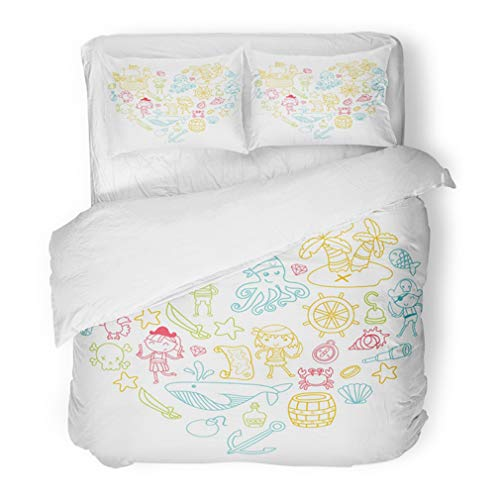 Emvency Bedding Duvet Cover Set Twin (1 Duvet Cover + 1 Pillowcase) Heart Shape Children Playing Pirates Boys and Girls Kindergarten School Preschool Hotel Quality Wrinkle and Stain Resistant