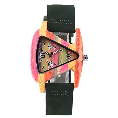 Creative Women Wood Watches Unique Colorful Wooden Triangle