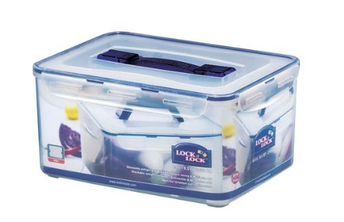(Lock&Lock 270-Fluid Ounce Rectangular Container with Handle and Tray, Tall, 33.3-Cup)
