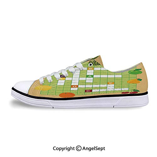 Low Top Rubber Sole Canvas Shoes Fruits with Educational Crossword Game Sneaker -
