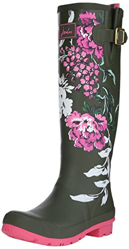 Joules Women's Wellyprint Rain Boot, Grape Leaf Floral, 7 M US by Joules
