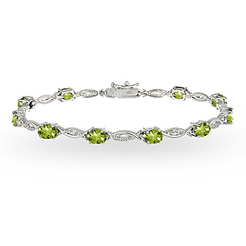 (GemStar USA Sterling Silver Peridot and White Topaz Oval-Cut Swirl Tennis Bracelet)