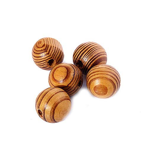 - 8-25 Mm Natural Round Wood Bead Unfinished Stripe Pine Wooden Beads Smooth Surface for Necklace Bracelet Jewelry,16mm