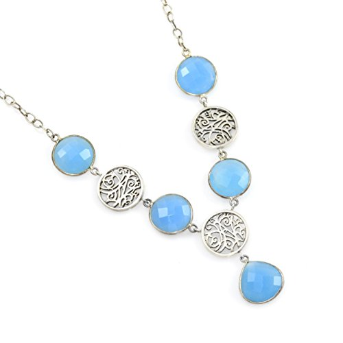 Necklace Blue Chalcedony And Sterling Silver by Lisa Robin Jewelry (Image #1)