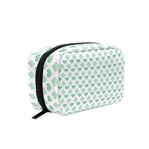 Green Love Makeup Bag Multi Compartment Pouch Storage Cosmetic Bags for Women Travel by Sunshine (Image #1)