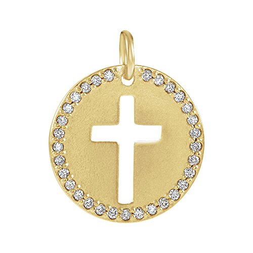 14k Yellow Gold and 0.08 Ctw Diamond Disc Cross Charm or Pendant (I1 Clarity, G-H Color) 12mm