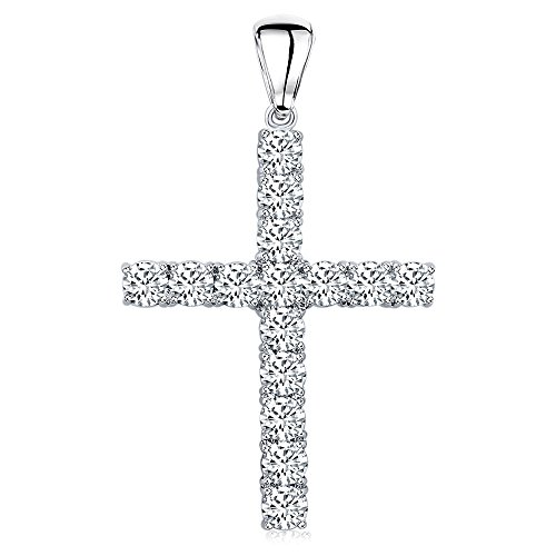Men's Sterling Silver .925 Original Design Iced Out Large Cross Pendant with Cubic Zirconia Stones, Large Bail for Wide Chains, Hand Polished, Platinum - Cross Silver Sterling Out