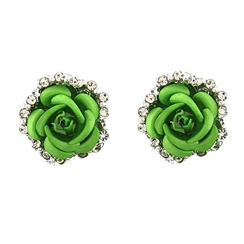 Rhinestones Laced Sided Silver Tone Cubic Zirconia Coral Carved Rose Flower Earring Stud Post Earrings,2 color (Green)