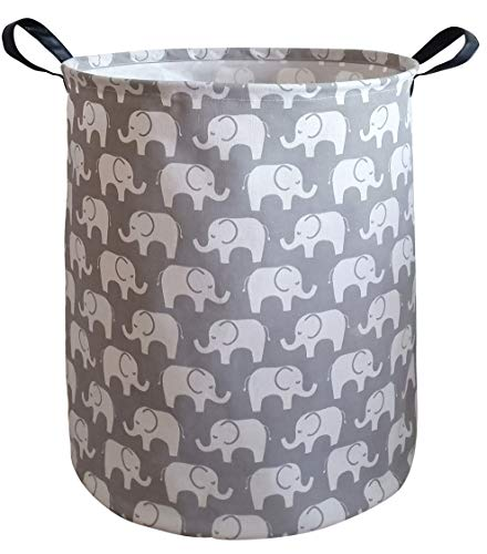 KUNRO Large Sized Storage Basket Waterproof Coating Organizer Bin Laundry Hamper for Nursery Clothes Toys (Elephant) from KUNRO