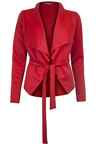 Fashion Star Womens Long Sleeve Belted Wrap Over Waterfall Coat Jacket Blazer Cardigan BE JEALOUS