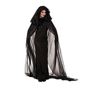 Finerolls Disfraces de Bruja para Halloween Cosplay Costume para Mujer con Capucha Negro