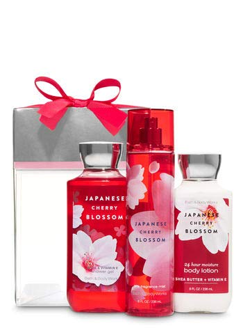 - Bath and Body Works Japanese Cherry Blossom Box Gift Set - Body Lotion - Shower Gel and Fine Fragrance Mist