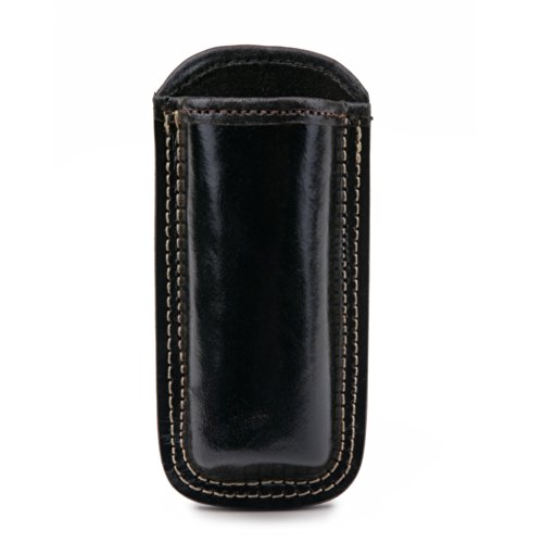 Guard Dog Security Hard Premium Leather Holster for Flashlights and Stun Guns (Black)