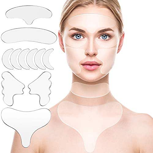11 Pcs Reusable Silicone Chest Pads,Silicone Neck Pad Forehead Pad Set Cleavage Pad Eye Mask Cheek Stick