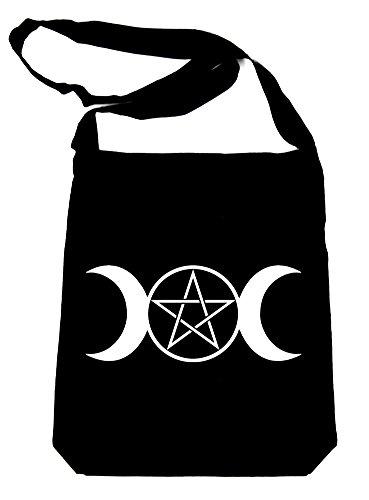- Triple Goddess Moon Pentagram Sling Bag Tote Wicca Neopagan Symbol Clothing Book Bag