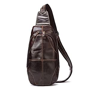 Lcxliga Men's Sling Bag Genuine Leather Chest Shoulder Backpack Cross Body Purse Water Resistant Anti Theft